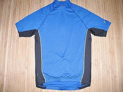 NIKE Cycle JERSEY Bike Shirt Size XL Bicycle BLUE with BLACK & Reflective Trim