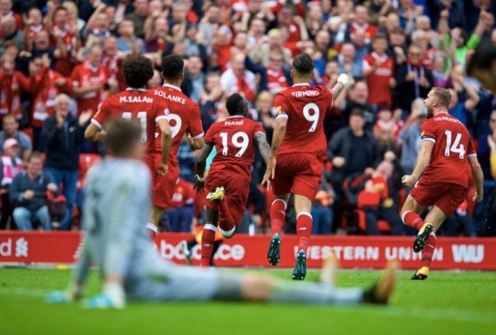 Mane celebration after netting the winner in 1-0 home win vs Palace 19th August 2017