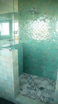 Tiles are a lovely colour but check out that floor! Fish Scale Tiles Design Ideas, Pictures, Remodel and Decor