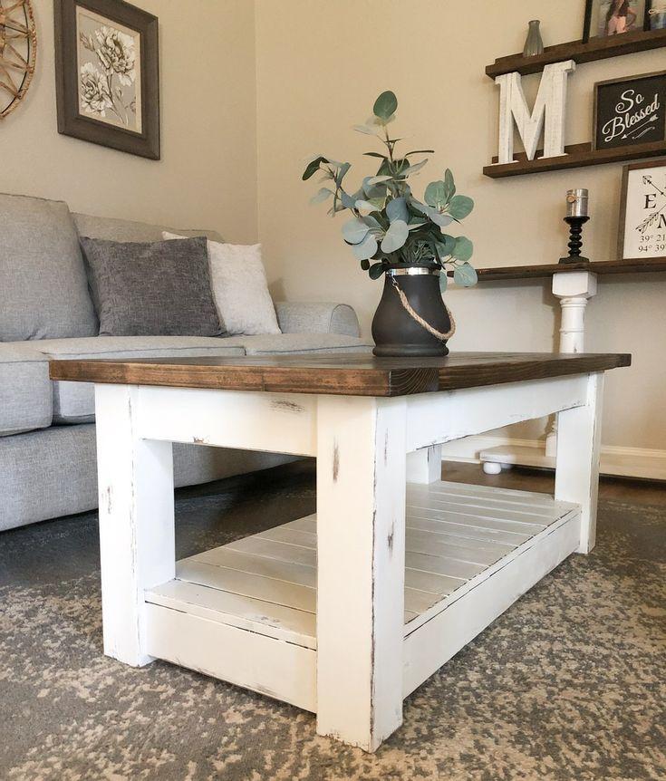 Chunky farmhouse coffee table, clean lines, distressed 48