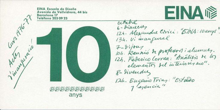 """Actes d'inauguració del curs 1976-77. Alexandre Cirici, """"EINA 10 anys"""". Federico Correa, """"Análisis de los elementos del interiorismo"""" Eugenio Trias, """"Estado y esencia""""."""