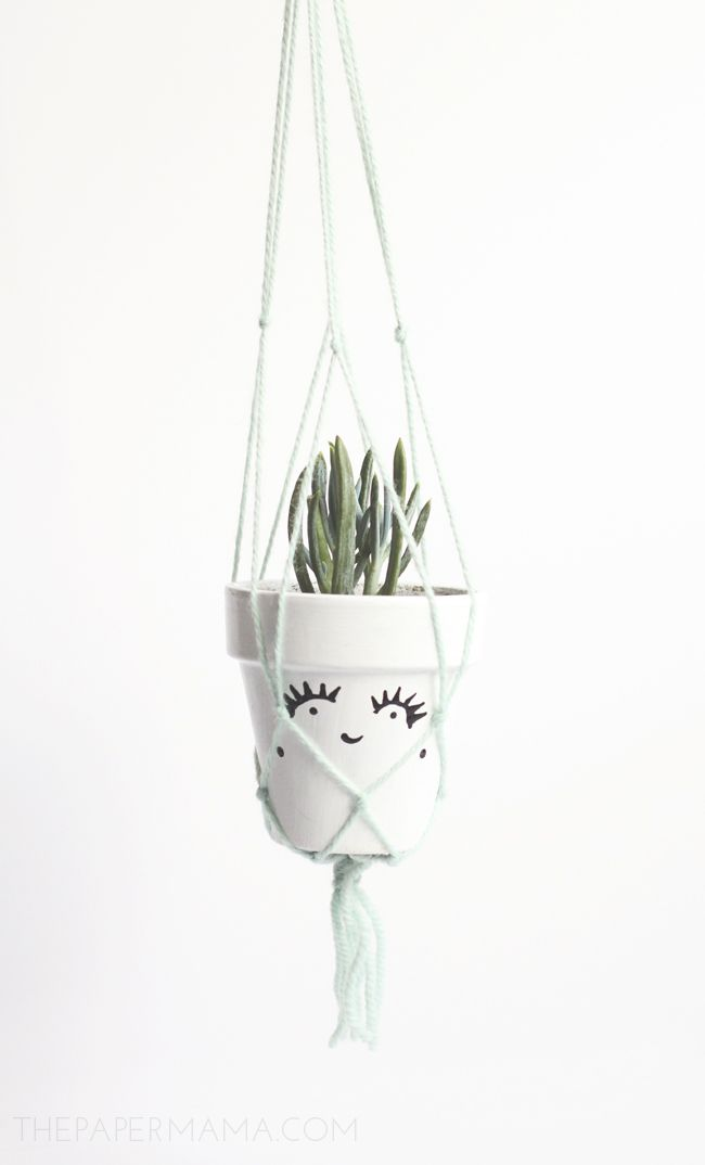Learn how to DIY-ify this adorable macrame plant hanger on BHG's Style Spotters Blog: http://www.bhg.com/blogs/better-homes-and-gardens-style-blog/2014/05/15/macrame-plant-hanger/