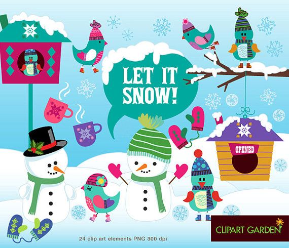 INSTANT DOWNLOAD Winter (Let it snow) digital clipart elements. (paper crafts, card making, scrapbooking)