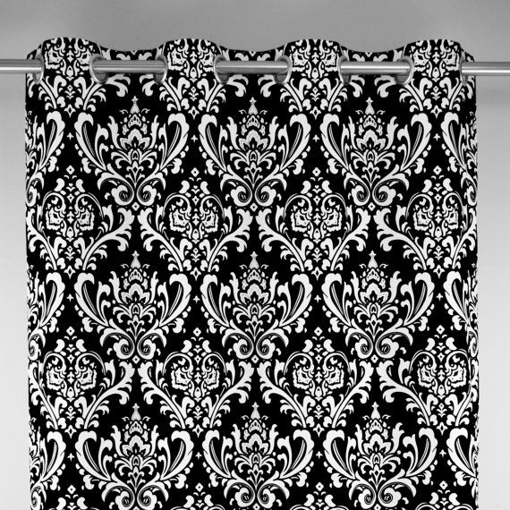 Perfect Black White Ozborne Large Damask Curtains Grommet 84 96