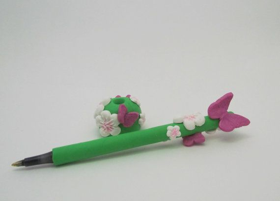 Butterflies and floral covered polymer clay pen by ClayHoliday, $12.95