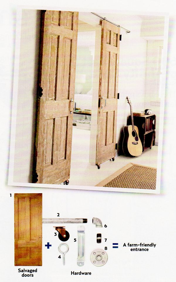 Sliding doors - DIY - look for blog post dated April 18, 2012 on this site.  Under DIY in the categories.
