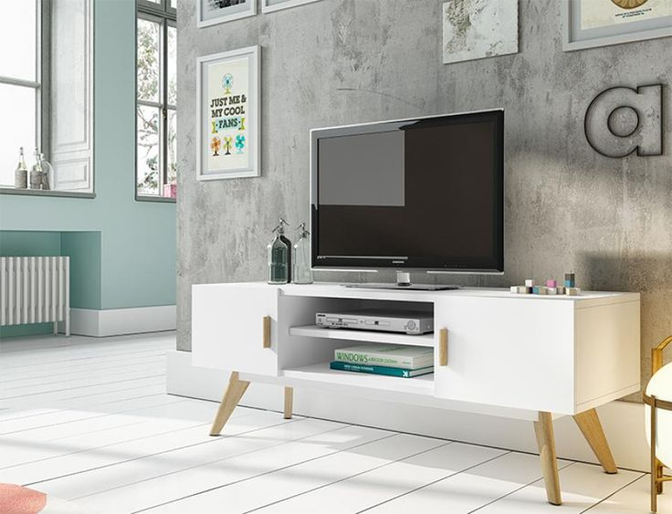 Contemporary White TV Unit with Oak Legs and Handles