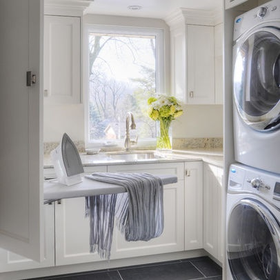 stacked washer dryer with built in box pull out ironing. Black Bedroom Furniture Sets. Home Design Ideas