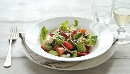 Ingredients:   For the Greek Vinaigrette:   1 clove garlic   3 tablespoons olive oil   3 tablespoons red wine vinegar   1 teaspoon d...