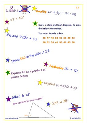 LS support for REVISION - skills mats from JUST MATHS