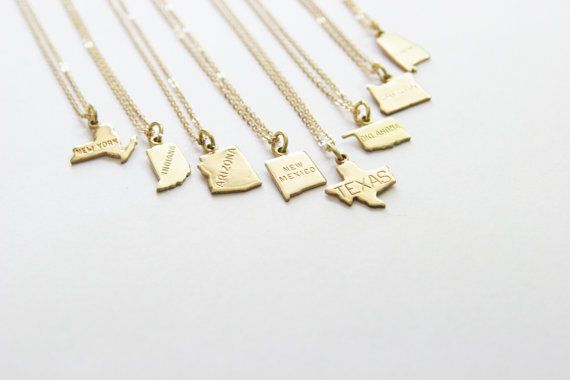 Hey, I found this really awesome Etsy listing at https://www.etsy.com/listing/214025130/tiny-brass-state-necklace-state-charm
