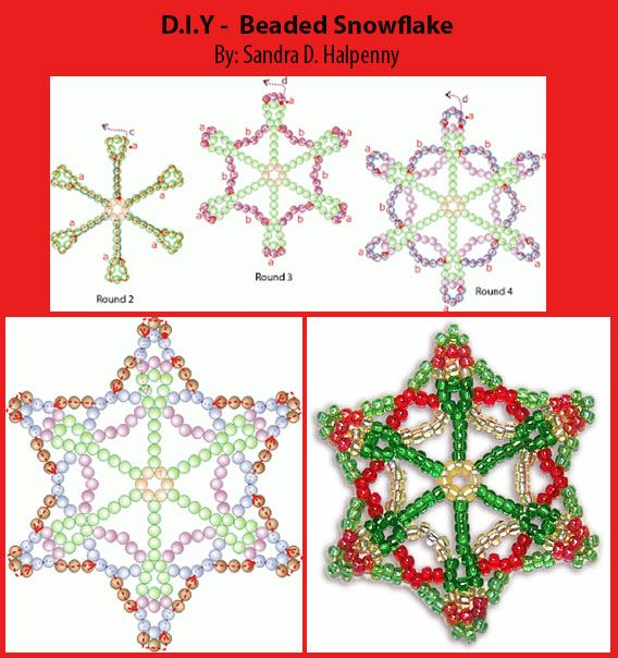 Free Snowflake Pattern! Free download available at Sova-Enterprises.com and Bead-Patterns.com