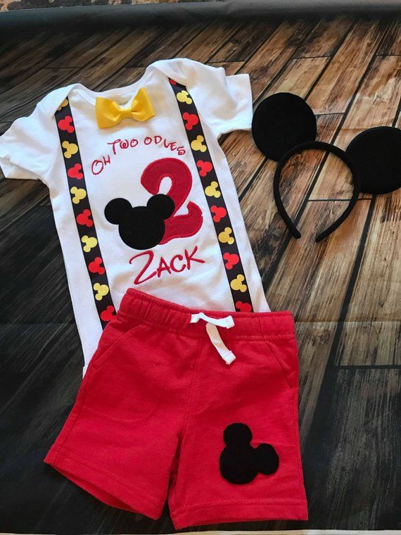Mickey Mouse Birthday Shirt Boys Set Second Outfit Mous
