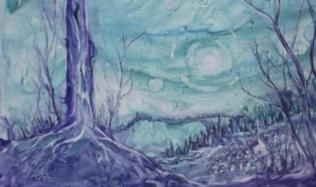 Homage to Vincent - watercolour on Yupo paper. It's a great paper for flow! www.gaylehalliwell.com