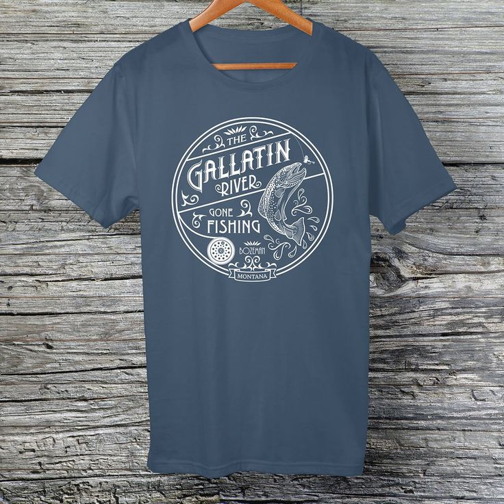 Gallatin River Gone Fishing, white logo t-shirt