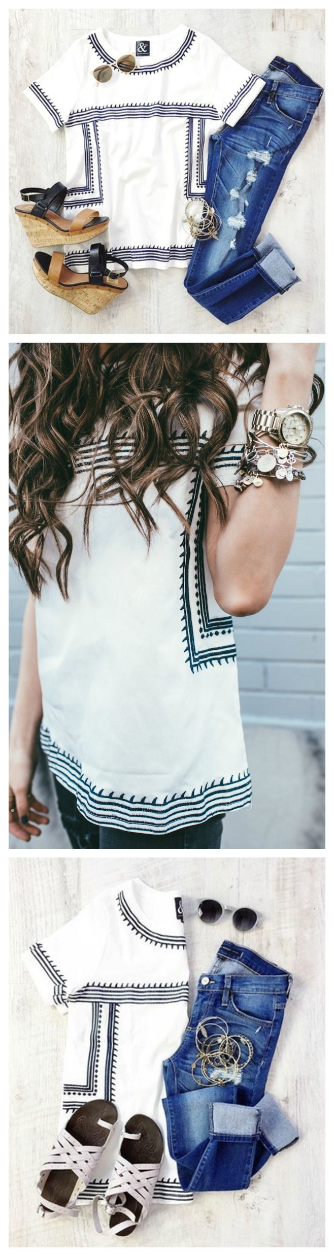 White Embroidered Top - Nantucket Top via Mindy Mae's Market