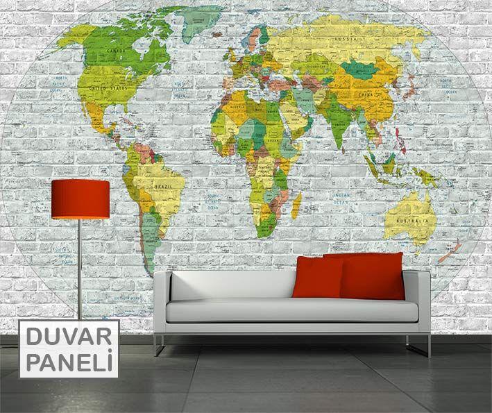 Resim Baskı Duvar Panel Dünya haritası