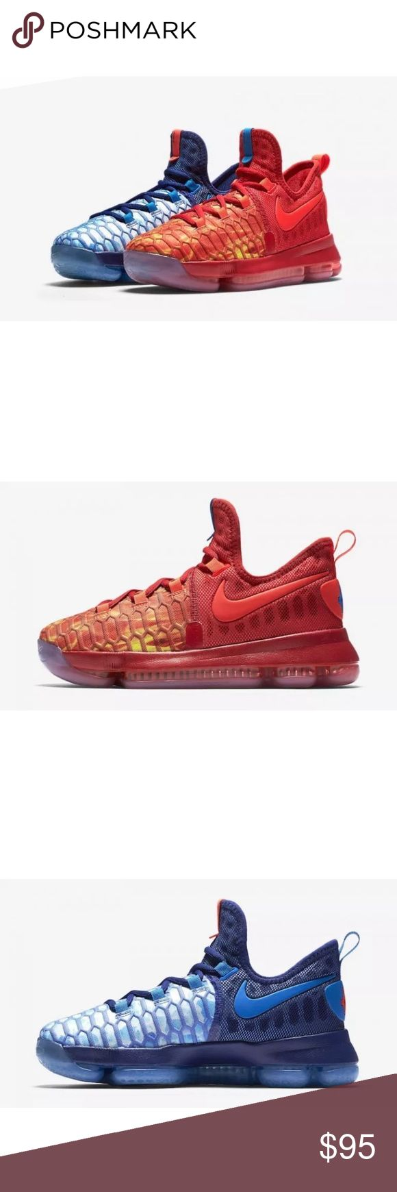 """Nike KD 9 Fire & Ice GS Size 7Y Brand : Nike  Style Code : 855908-400  Color: Deep Royal Blue/Photo Blue-University Red  Size : 7Y  Dubbed, """"Fire & Ice"""", this release is inspired by when Kevin Durant was a kid back in Maryland practicing in the winter. While playing outside, his hands would get ice cold. To warm them up, he'd try to pour hot water over them, which would give his hands a burning sensation.  BRAND NEW.  NO BOX.  NEVER WORN.  100% AUTHENTIC Nike Shoes Athletic Shoes"""