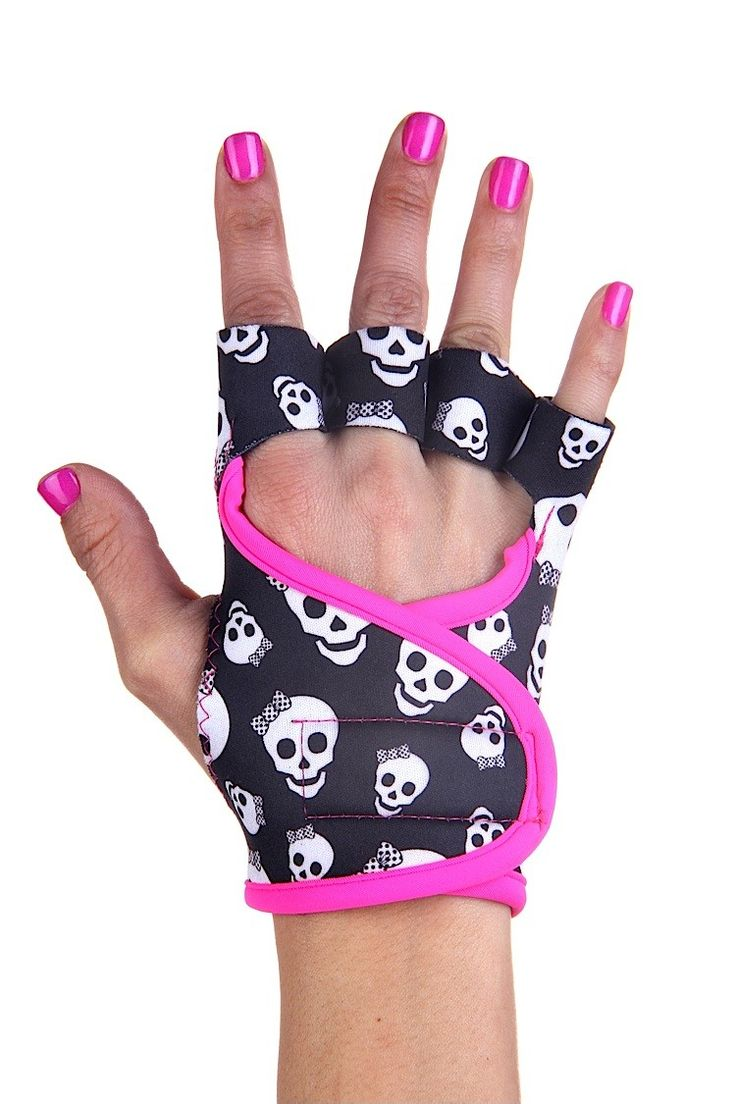 Skulls workout gloves with pink piping