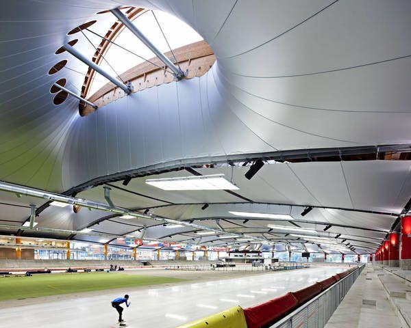 Max-Aicher-Arena in Inzell, Behnisch Architekten, Pohl Architekten - Tensioned ceiling made with LowE (Low Emissivity) Serge Ferrari composite membrane