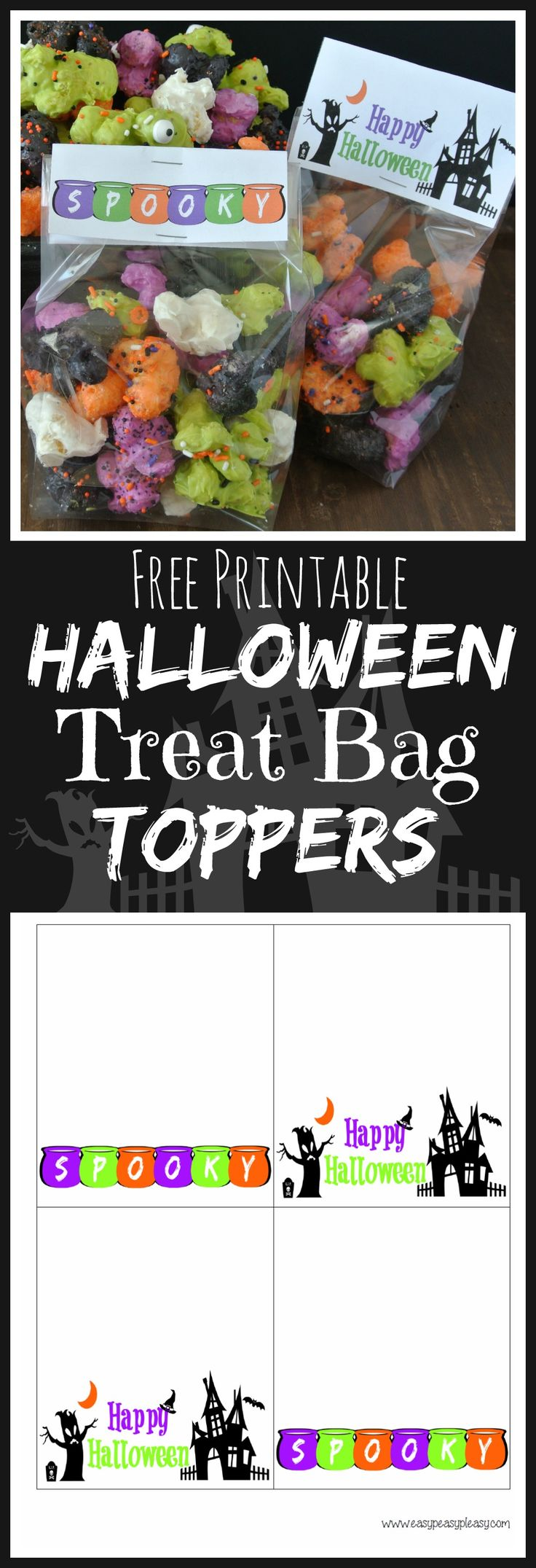 Free Printable Treat Bag Toppers are the perfect addition to those candy goodie bags this Halloween!
