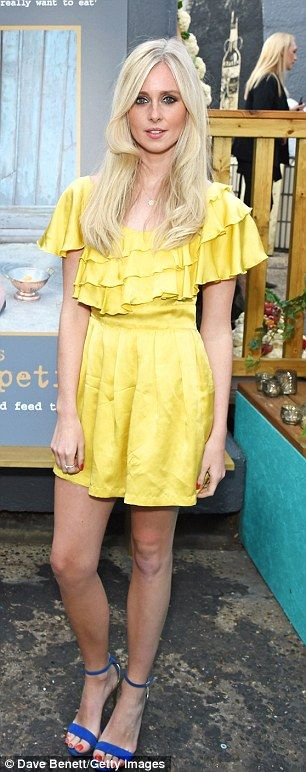 Celeb guestlist: Diana Vickers stood out in a frilly yellow dress while Zoe Hardman was chic in a green leather skirt and white shirt