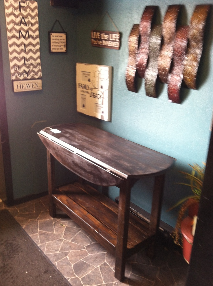 Repurposed Drop Leaf Coffee Table Into Tall Dark And