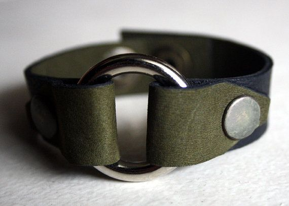 Leather Bracelet Moss Green and Black With O door BatwingsBattleaxes