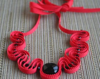 Red grosgrain ribbon necklace with black beads