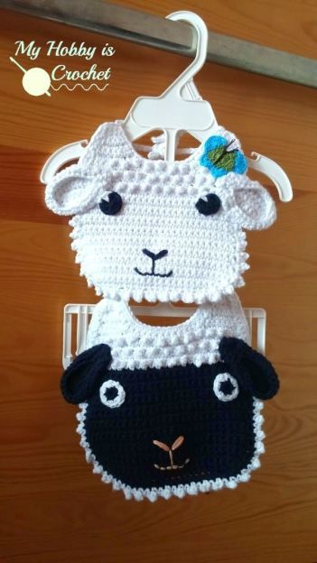 Little Lamb Baby Bib Tutorial. What a great idea for a baby gift | Free Crochet Pattern | My Hobby is Crochet