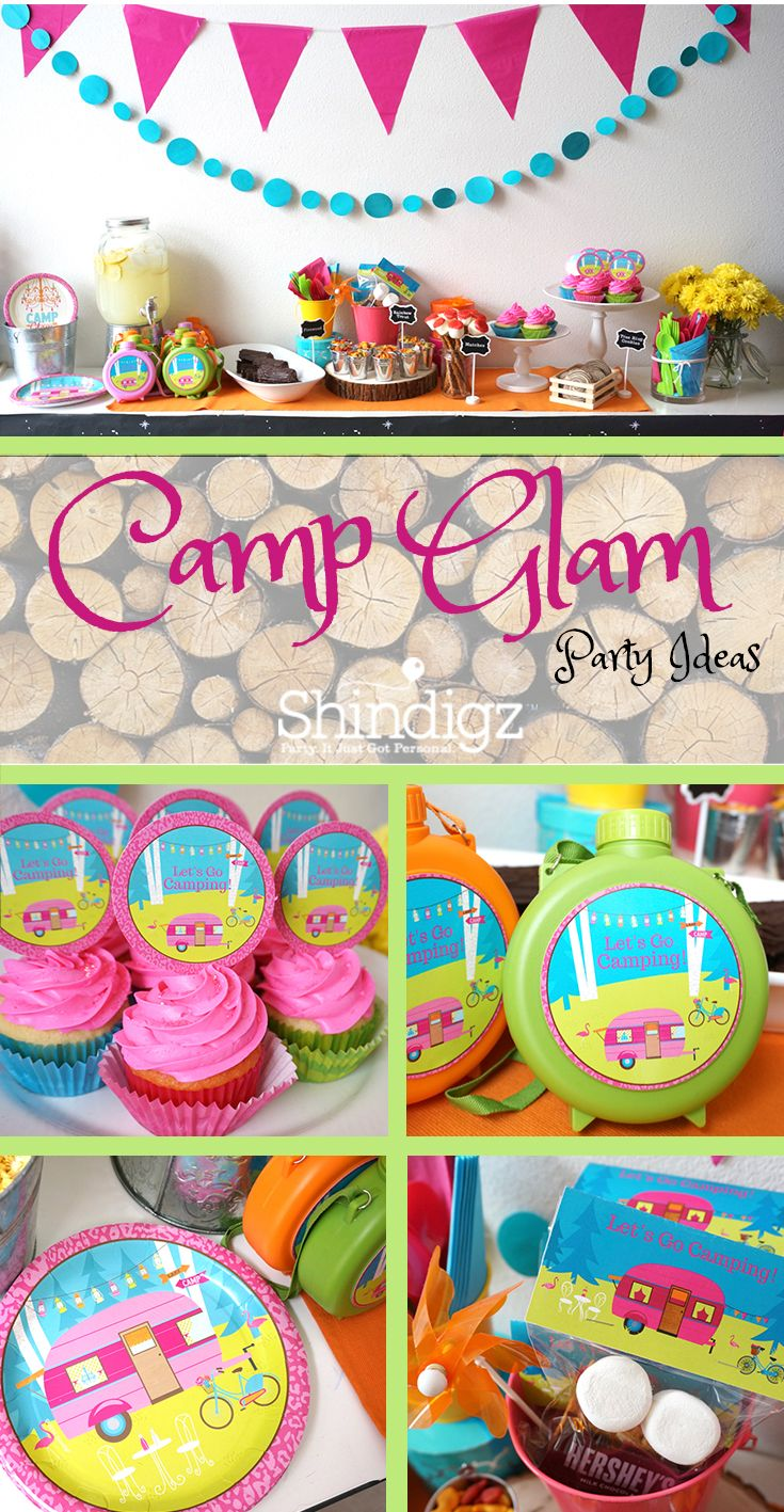 Throw your daughter the ultimate camping party with party ideas from the Shindigz blog! Check out the Camp Glam birthday party styled by The Caterpillar Years using Shindigz products!