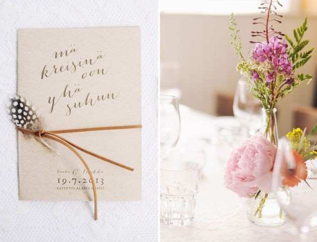 bohemian wedding programs on recycled paper, tied together with leather string and a little feather