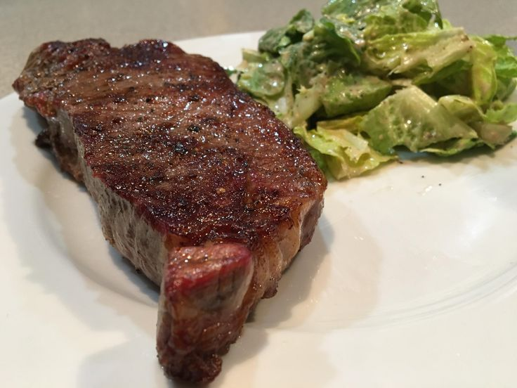 [HOMEMADE] USDA Prime NY strip steak and Caesar Salad.