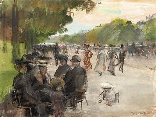 Isaac Israëls - Elegante Parijzenaars langs een laan in het Bois de Boulogne, Parijs