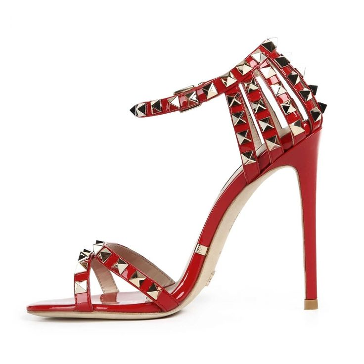 Red patent spiky sandal by Gianni Renzi Couture golden spiky studs Gianni Renzi Couture