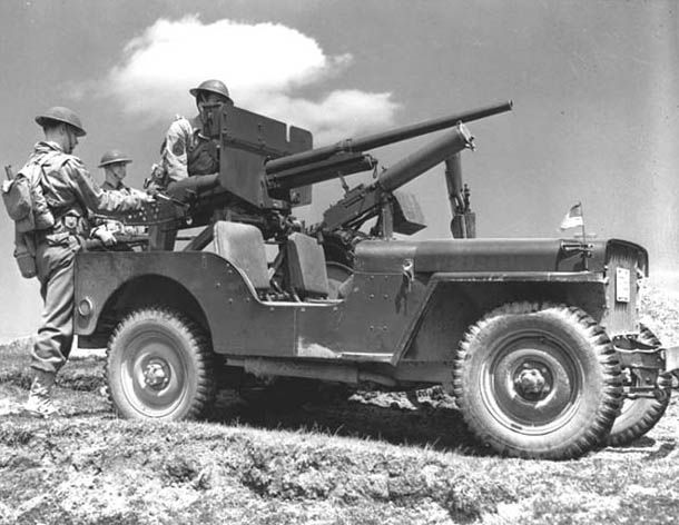 Jeep's were often times mounted with weapons, pictured is a 37mm canon (very rare) and a machine gun