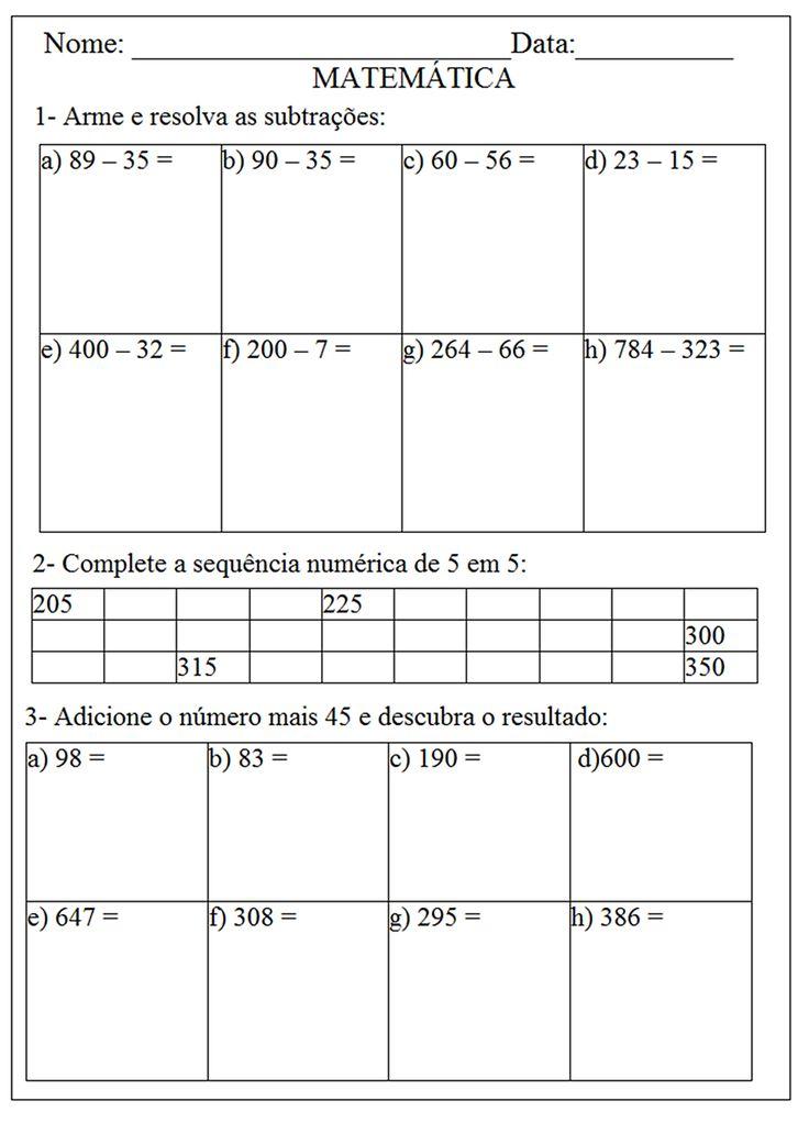 Atividades de matemática para imprimir 5 ano                                                                                                                                                                                 Mais