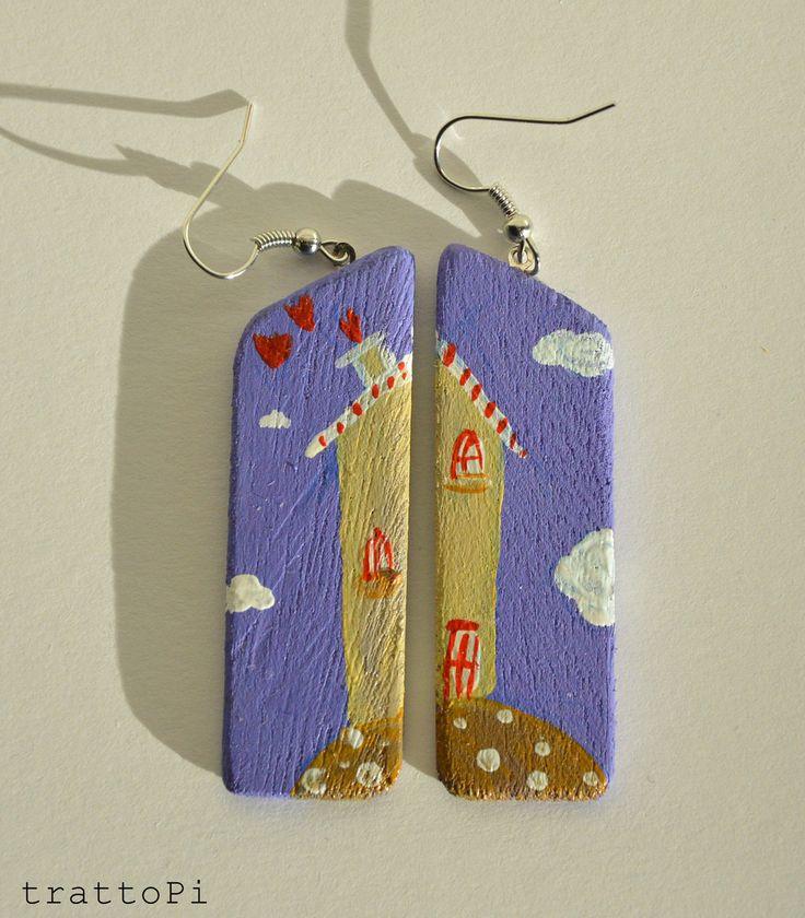 """orecchini dipinti a mano """"cielo viola"""" : Orecchini di trattopi"""
