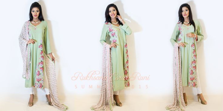 from Rukhsana Esrar Runi RTW Spring/Summer Collection 2015 #mint #floral #kameez #pret #salwarkameez #readytowear #rtw #casual #bengali #bangladeshi #desi #casualwear #designer #RukhsanaEsrarRuni