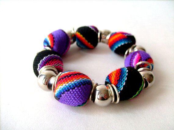 Statement Tribal fabric Chunky beads by BohemianHooksJewelry, $12.00