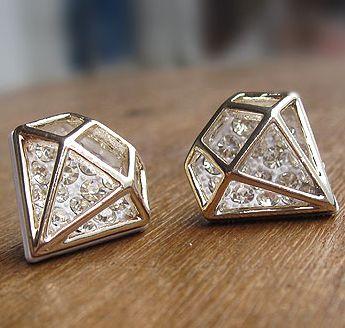 Diamond Shape Zircon Crystal Ear Studs