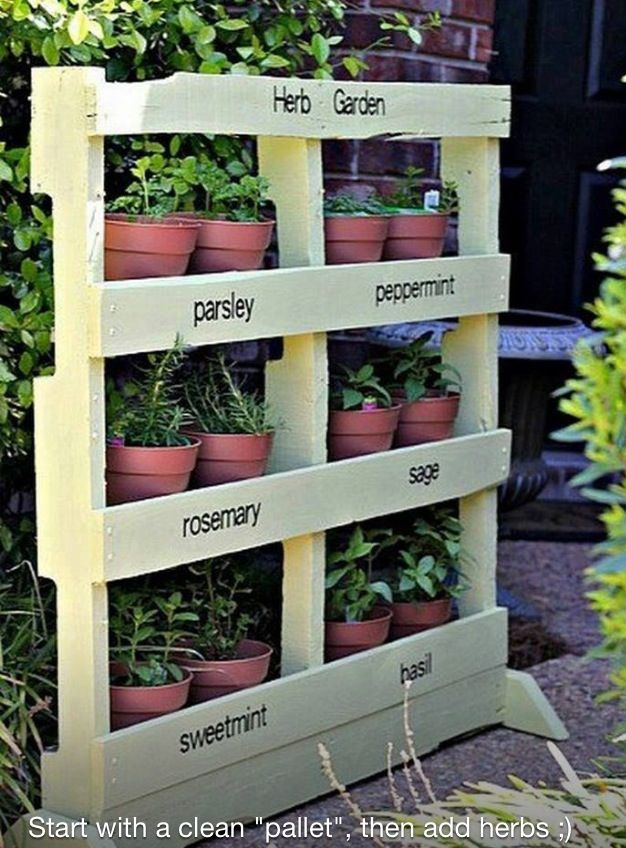 Pallet herb garden. The clean look is very appealing, but it could also be fun for children to paint these in their favorite colors and have a pop of color in the herb garden.