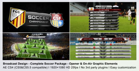 After Effects Project Files - Broadcast Design - Complete On-Air Soccer Package | VideoHive