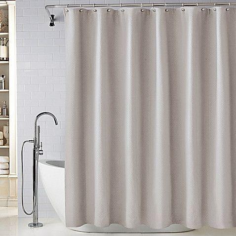 "Wamsutta Diamond Matelasse 72"" x 84"" Shower Curtain in Light Grey"