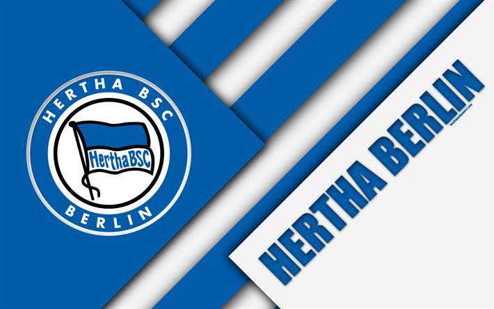 Download wallpapers Hertha Berlin, FC, 4k, material design, emblem, german football club, Hertha BSC logo, Bundesliga, blue abstraction, Berlin, Germany