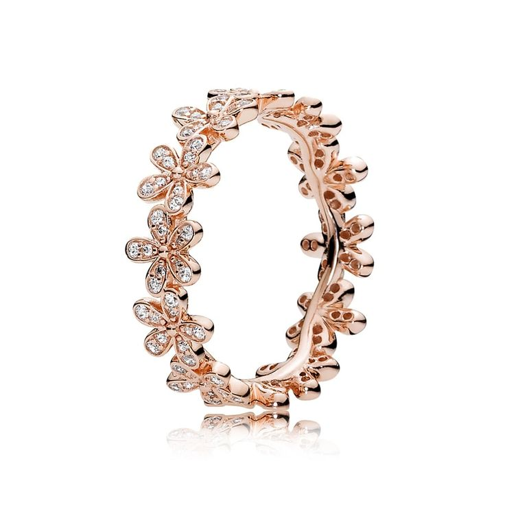 Pandora Dazzling Daisy Band Rose Gold Ring Jewelry 70% Off