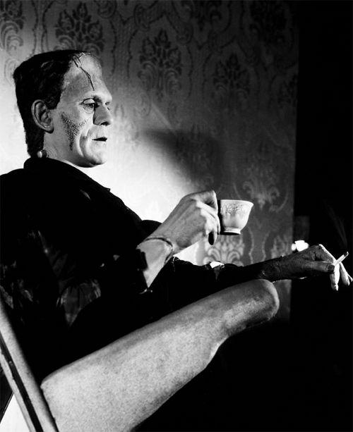Boris Karloff on the set of The Bride of Frankenstein, 1935