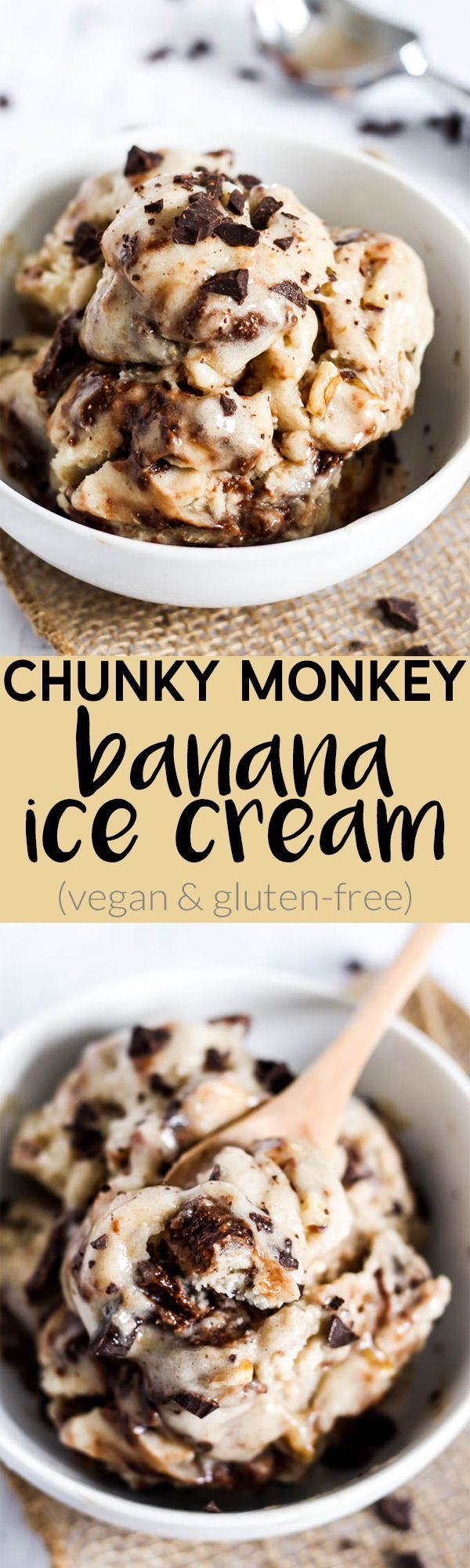 Your favorite flavor of ice cream is getting a vegan, gluten-free makeover! This Chunky Monkey Banana Ice Cream is the best healthy, comfort food dessert.