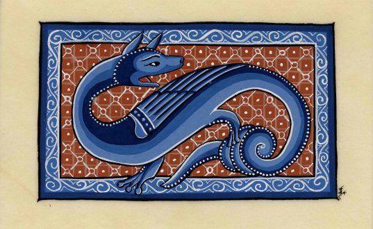 Enluminure-dragon Le Bestiaire d'Aberdeen est un bestiaire du XIIe siècle qui a été répertorié pour la première fois en 1542 dans l'inventaire de la Old Royal Library du palais de Westminster