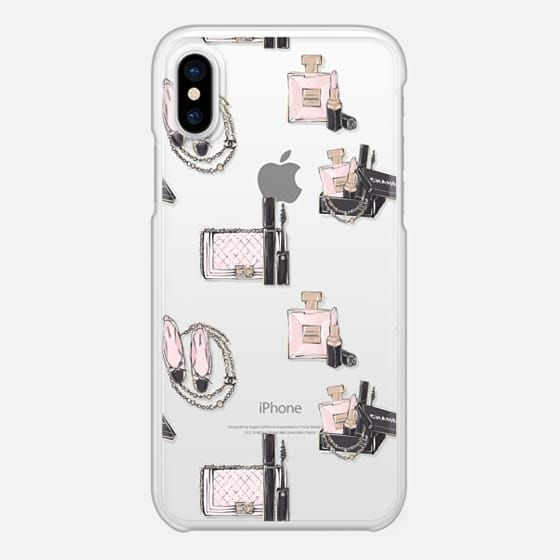 Casetify iPhone X スナップケース - Fashion Transparent Glam Powder Pink Blush Makeup Make Up Cosmetic Pattern by Frou Frou Craft